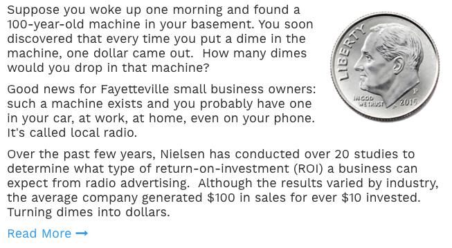 Advertising ROI in Fayetteville