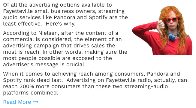 Fayetteville: Advertise on Pandora and Spotify