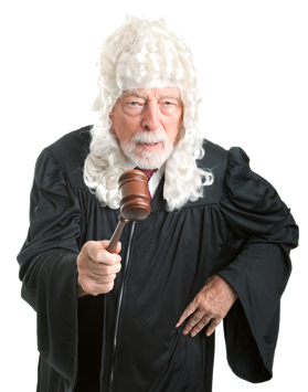 judge with gavle and wig