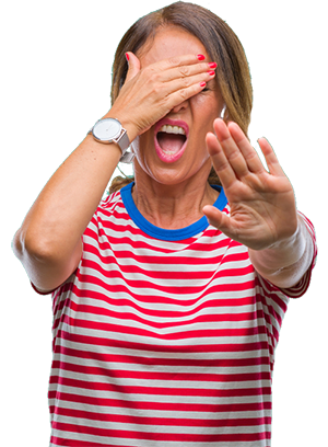 300px woman eyes covered pushing away camera shutterstock_1232978332