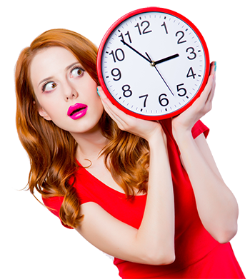 red hair big clock woman