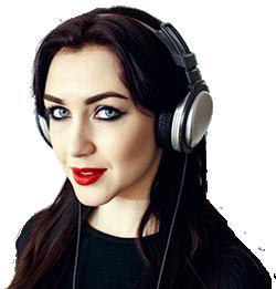 woman in black listening to radi owith headphones shutterstock_543178648